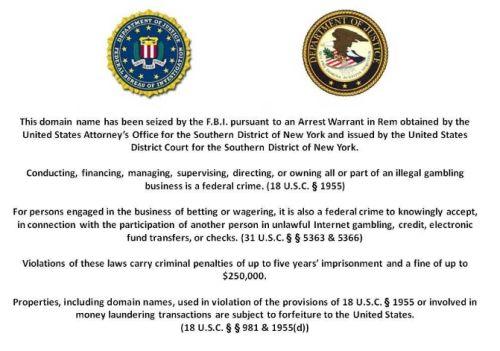La notifica della confisca da parte dell'FBI