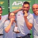 La squadra italiana premiata con la medaglia di bronzo: nella foto da sinistra Luigi Belleri, Elena Lanini, Luca Cannella e Andrea Lombardi
