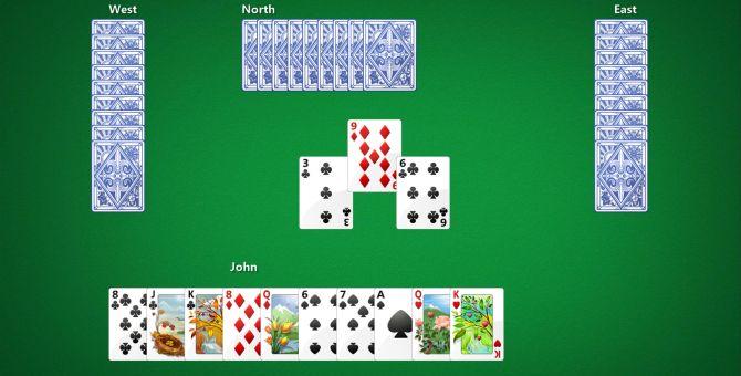 Una schermata di 'Hearts', il primo gioco a carte online in cui si cimentò Cliff