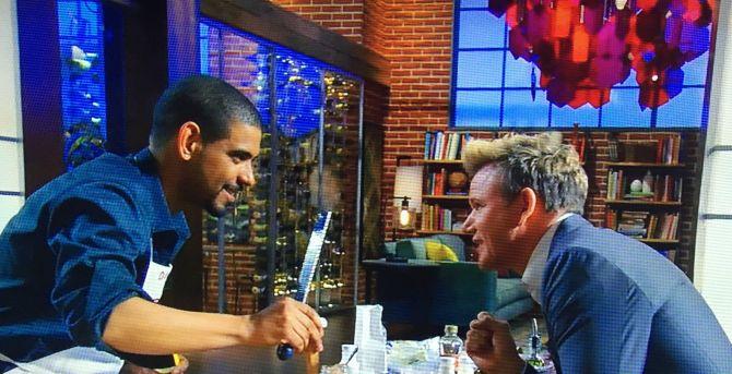 David con chef Ramsay durante una puntata