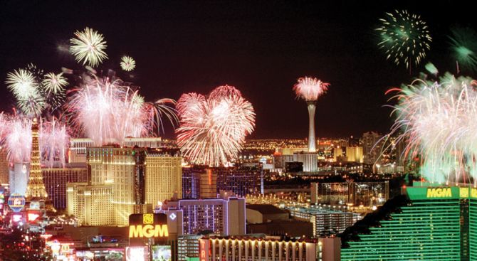 Fireworks explode over the Las Vegas Strip just after midnight Monday, January 1, 2002. The photo is taken looking north at the south end of The Strip from the top of the Mandalay Bay hotel-casino. An estimated 282,000 visitors came to Las Vegas to celebrate the New Year. STEVE MARCUS / LAS VEGAS SUN