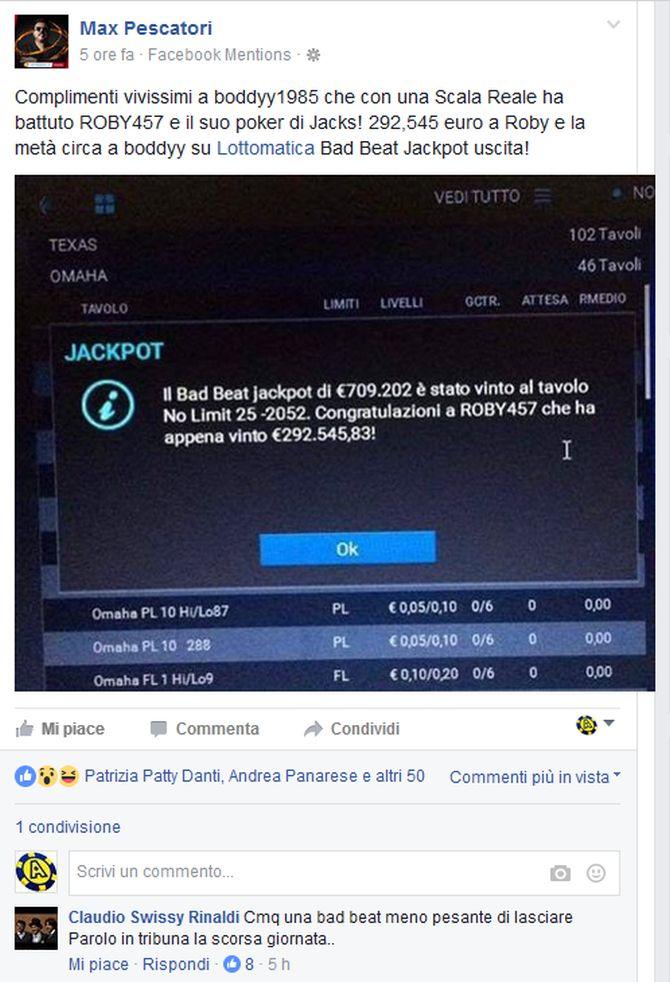 """Il post con cui Max Pescatori annuncia il bad beat jackpot centrato su Lottomatica Poker. Da notare il """"commento memorabile"""" di Claudio """"swissy"""" Rinaldi..."""
