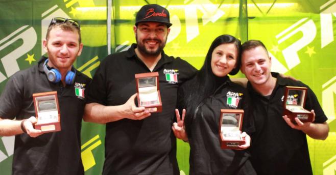 Il Team Italy campione del mondo amatori: da sinistra Catello Di Martino, Luca Cannella, Dorina Ciocan e Gabriel Iemmito