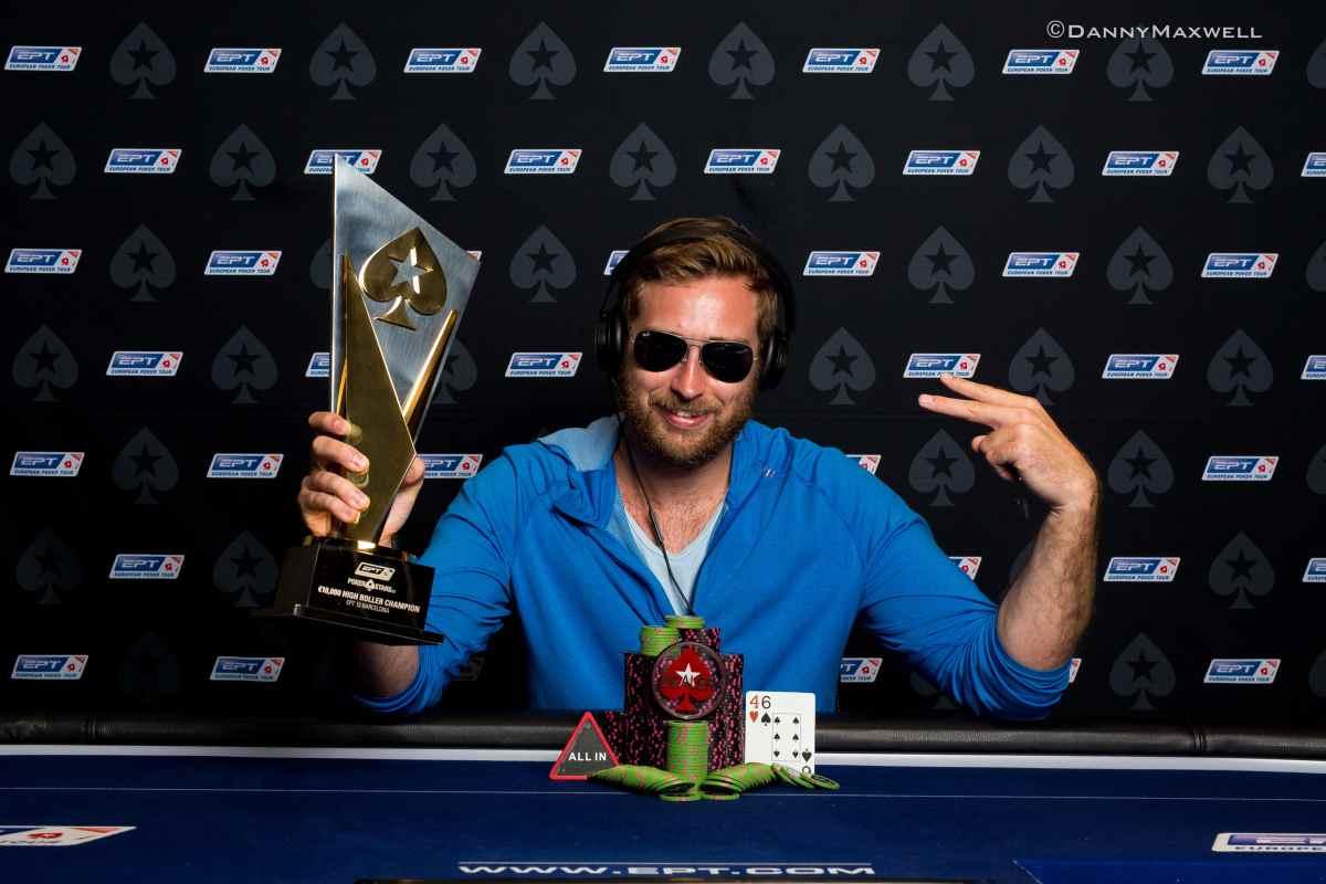 Connor Drinan dopo l'EPT HR vinto a Barcellona nel 2016 (courtesy of Danny Maxwell - Pokernews)